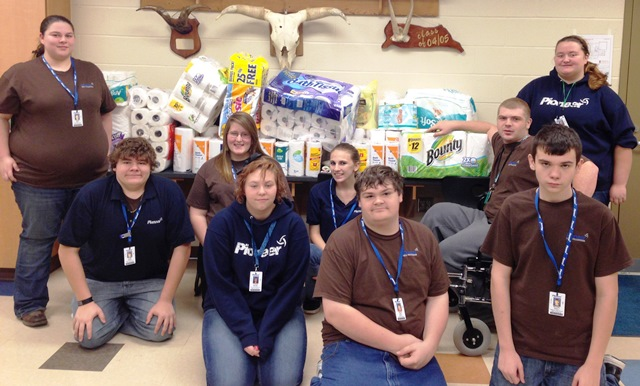 Students & Staff collect items for Harmony House
